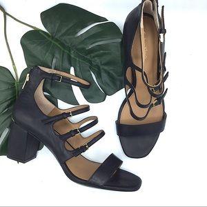 Calvin Klein Shoes - Calvin Klein Black Leather Black Strappy Heel 8.5